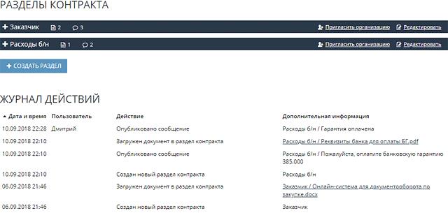 Скриншот сведений о контракте - разделы и журнал действий