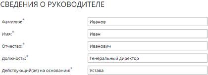 Скриншот формы регистрации новой организации - сведения о руководителе