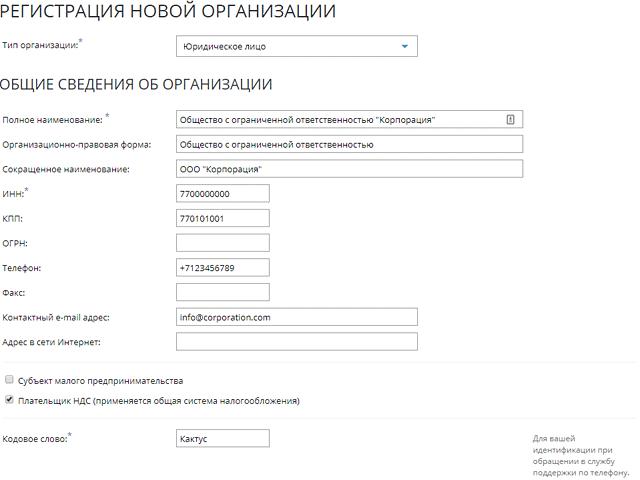 Скриншот формы регистрации новой организации - общие сведения
